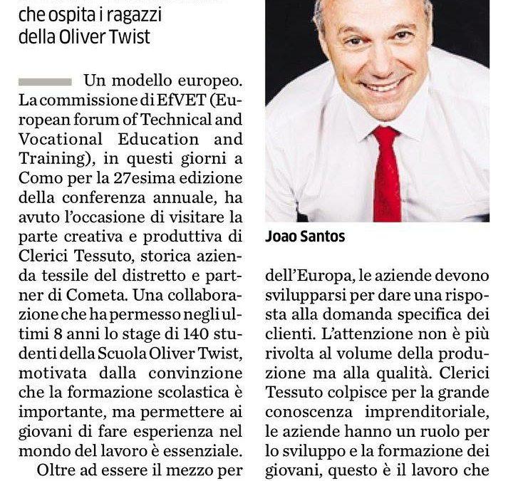 Cometa, partnership con Clerici Tessuto modello europeo